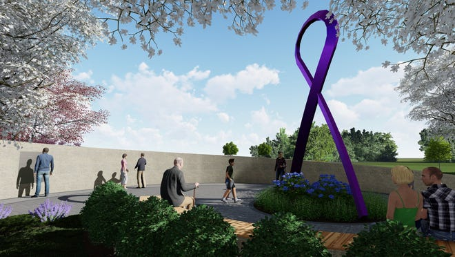A rendering shows a ground-level view of the planned memorial honoring those lost to overdose and addiction.