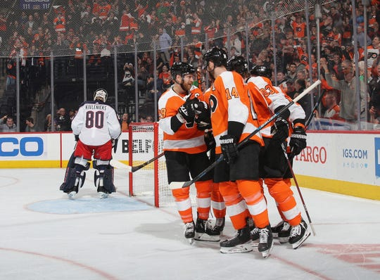 The Flyers put the game away early, scoring on their first two shots for an eventual 5-1 win over the Columbus Blue Jackets.