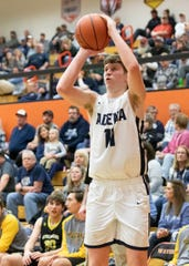 Adena's Logan Bennett shoots a jump shot during a 73-51 win over Lynchburg-Clay in a D-III sectional semifinal on Tuesday in Waverly, Ohio.