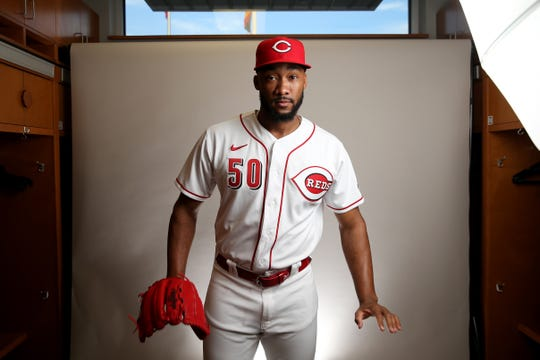 Cincinnati Reds relief pitcher Amir Garrett (50) stands for a portrait, Wednesday, Feb. 19, 2020, at the baseball team's spring training facility in Goodyear, Ariz.