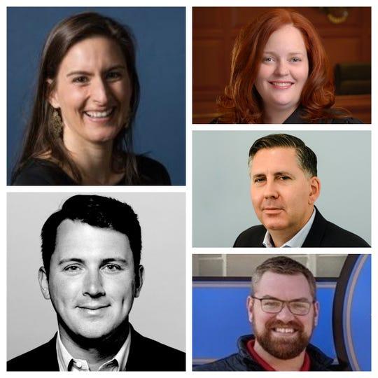 Council candidates (clockwise from top left): Liz Keating, Betsy Sundermann, Steve Goodin, Garrett Gerard, Seth Maney