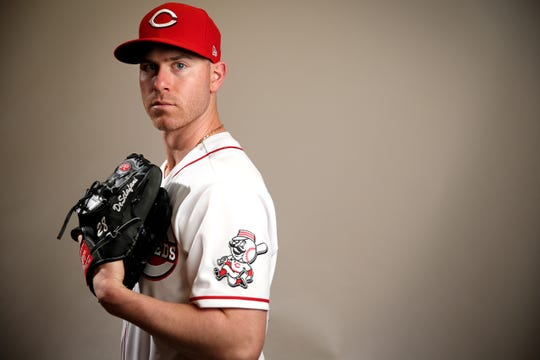 Cincinnati Reds starting pitcher Anthony DeSclafani (28) stands for a portrait, Wednesday, Feb. 19, 2020, at the baseball team's spring training facility in Goodyear, Ariz.