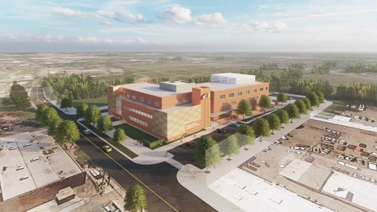 Rendering for proposed 4.7-acre, 135,000-square-foot school on Jersey Avenue in New Brunswick, which pave the way for Rutgers Cancer Institute of New Jersey to expand on the site of Lincoln Annex School.