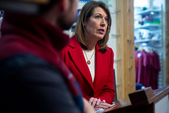 U.S. Rep. Cindy Axne, D-Iowa, holds a news conference to announce a new bill that calls for more transparency from companies that offshore their workforce on Wednesday, Feb. 19, 2020, at Raygun in Des Moines.