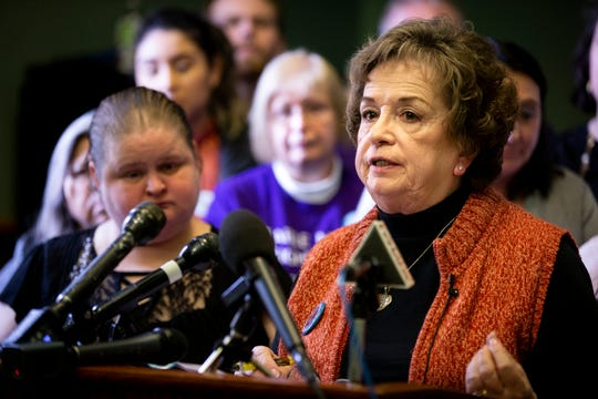 Candi Evans Vice-President of the Golfview Mobile Home Park Residents Association speaks during a press conference at the Iowa State Capitol on Wednesday, Feb. 19, 2020, in Des Moines.
