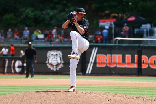 Georgia pitcher Emerson Hancock (17) during Game 3 of a baseball series between Georgia and Alabama in Athens, Ga., on Saturday, May 18, 2019. (Photo by Kristin M. Bradshaw)