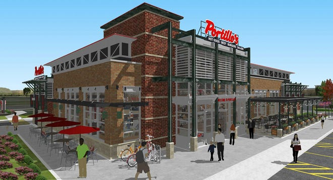 Street view of Portillo's entrance and catering side in rendering.