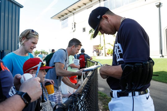 Pitcher Franklin Perez signs autographs for fans during Detroit Tigers spring training at TigerTown in Lakeland, Fla., Tuesday, Feb. 18, 2020.