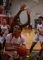 Gabrielle Elliott, a senior guard/forward for Detroit Edison, plays against Detroit Cass Tech, Tuesday, Feb. 18, 2020.
