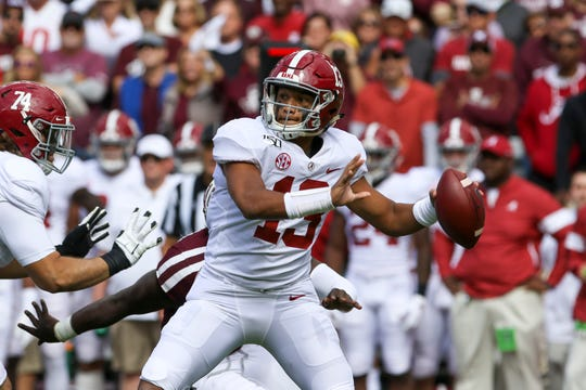 Alabama quarterback Tua Tagovailoa passes against Texas A&M on Oct. 12, 2019 in College Station, Texas.