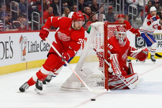 Detroit Red Wings right wing Anthony Mantha (39) skates with the puck in the first period against the Montreal Canadiens at Little Caesars Arena on Tuesday, Feb. 18, 2020.