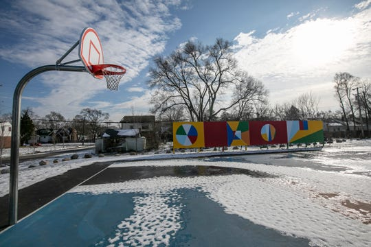 A new basketball court on Prairie Street. The Free Press checks back in with the progress of the Fitzgerald neighborhood revitalization project Tuesday, Feb. 11, 2020.