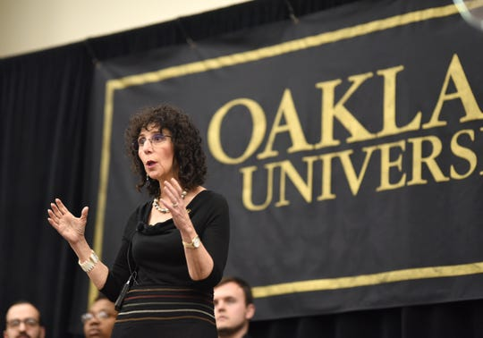 """Oakland University's President Ora Hirsch Pescovitz announces the """"Strive for 45: Invest in Student Success"""" initiative at the Rochester Campus."""