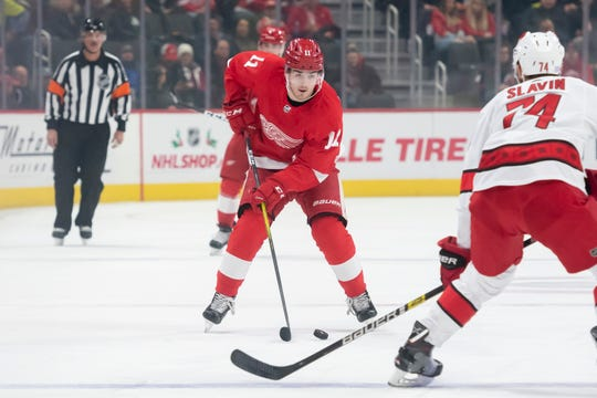 In 28 games Filip Zadina had eight goals and seven assists, and was seeing time on the Wings' top line.