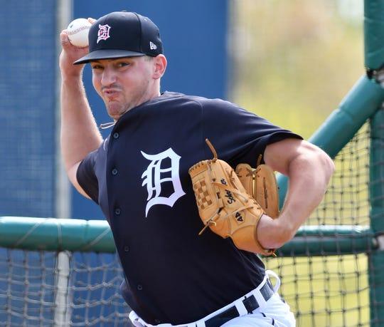 Tigers pitcher John Schreiber throws live batting practice in Lakeland, Fla.