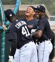 Daz Cameron, Miguel Cabrera and Cameron Maybin share a laugh during Tigers' spring training.