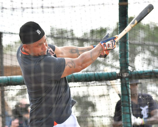 Tigers' Miguel Cabrera takes batting practice at Detroit Tigers spring training in Lakeland, Fla., on Wednesday.