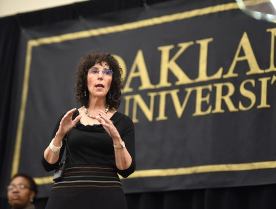 "Oakland University's President Ora Hirsch Pescovitz announces the ""Strive for 45: Invest in Student Success"" initiative at the Rochester Campus."
