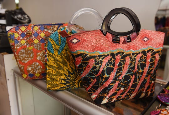 Handbags made of ankara fabric are on display at the African Fashions by Classic Expressions store.