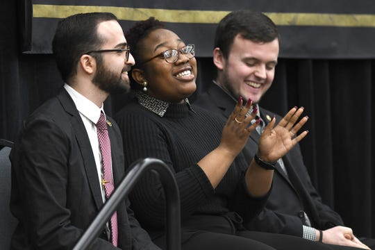 "Oakland University students Ghazi Ghazi, left, Destinee Rule and Chris Russell spoke of their college experiences before President Ora Hirsch Pescovitz announced the ""Strive for 45: Invest in Student Success"" initiative Wednesday, Feb. 19, 2020, at the school's Rochester campus."