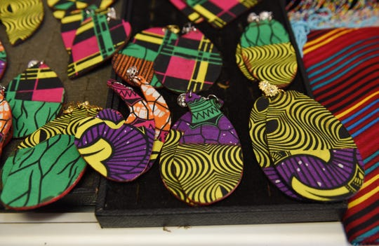 Earring made of ankara fabric are on display at the African Fashions by Classic Expressions store.