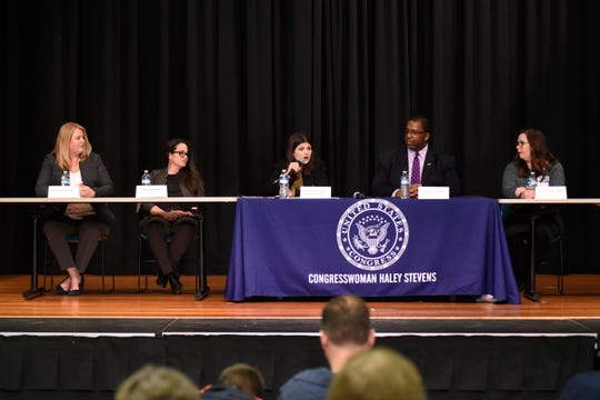 "Dr. Nicole Lawson, left, Tara Consolino, U.S. Rep. Haley Stevens, Kevin Fischer and Kelly Powell join a town hall discussion about mental health issues on Tuesday. ""If we don't change the way our culture looks at mental illness … people simply won't seek the help they need,"" said Fischer."