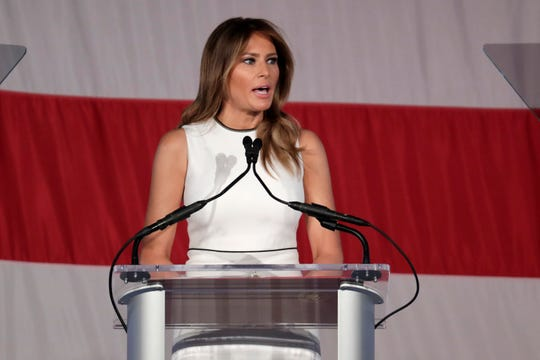 First lady Melania Trump speaks at the Women of Distinction Luncheon hosted by Palm Beach Atlantic University, Wednesday, Feb. 19, 2020, in Palm Beach, Fla.