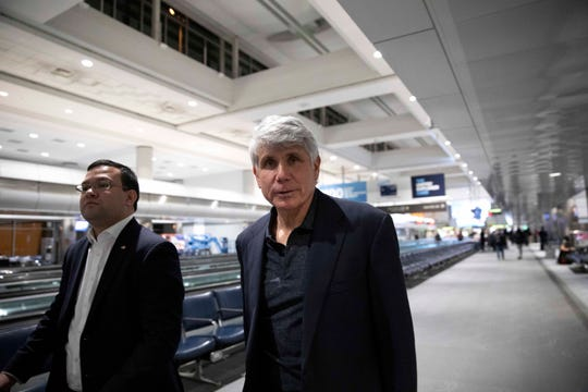 Former Gov. Rod Blagojevich arrives to Denver International Airport on Tuesday, Feb. 18, 2020 in Denver.