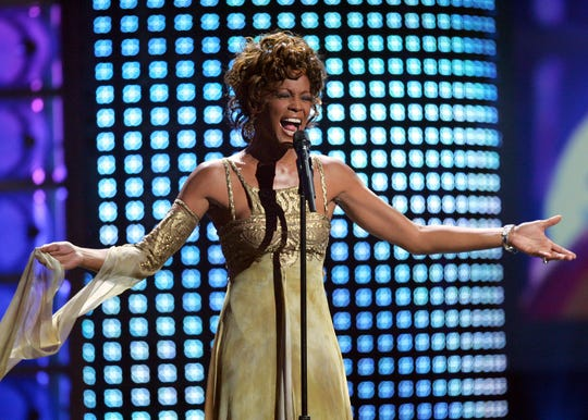 Whitney Houston performs at the 2004 World Music Awards at the Thomas and Mack Arena in Las Vegas on Sept. 15, 2004.