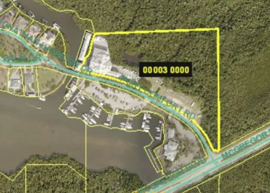 Map showing location of Port Sanibel Marina  property.  Neighbors on Connie Mack Island  have twice beaten back attempts to rezone the marina to allow a bigger boat launch