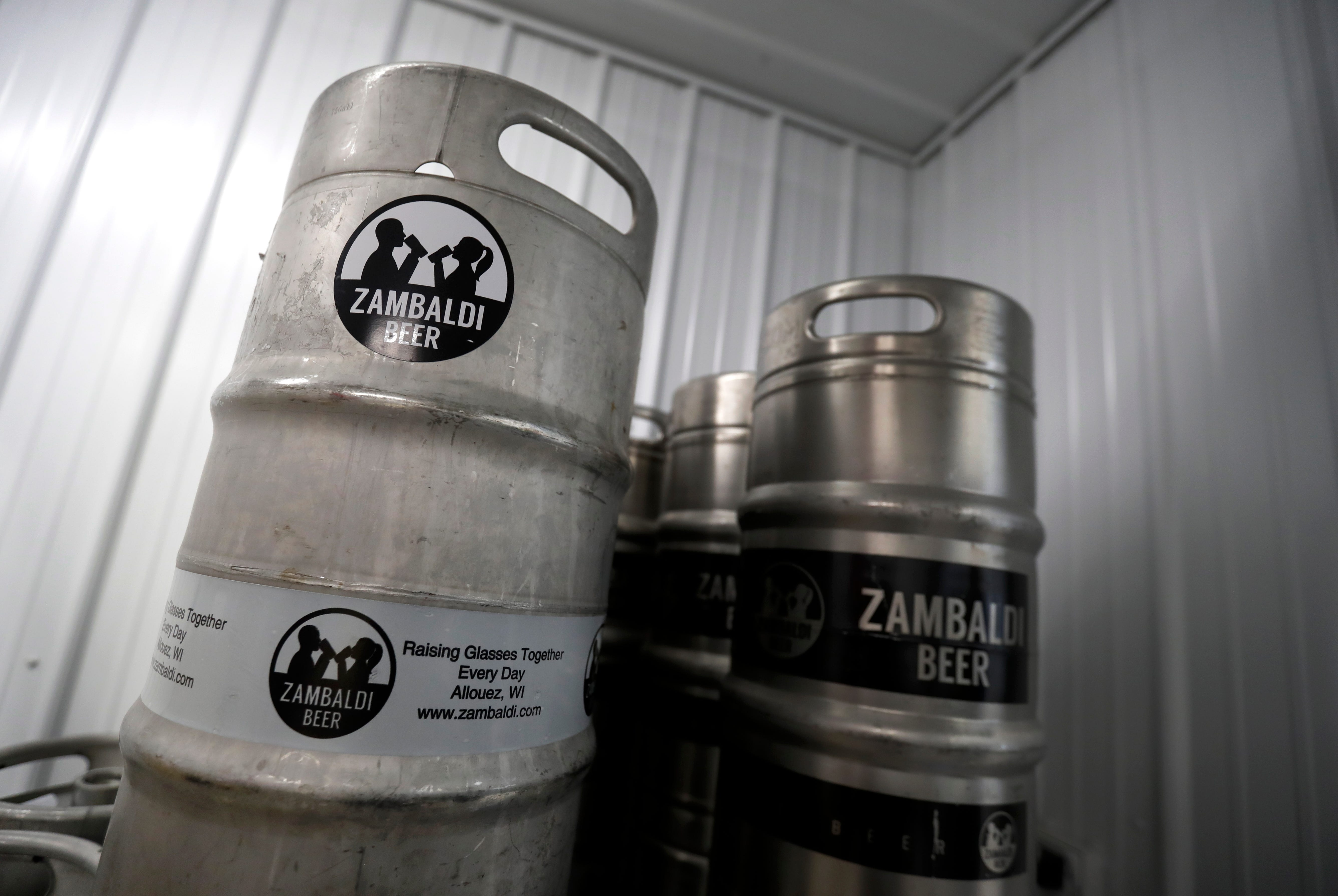 Kegs of Zambaldi Beer are stacked in the newly opened brewery and taproom  in Allouez.