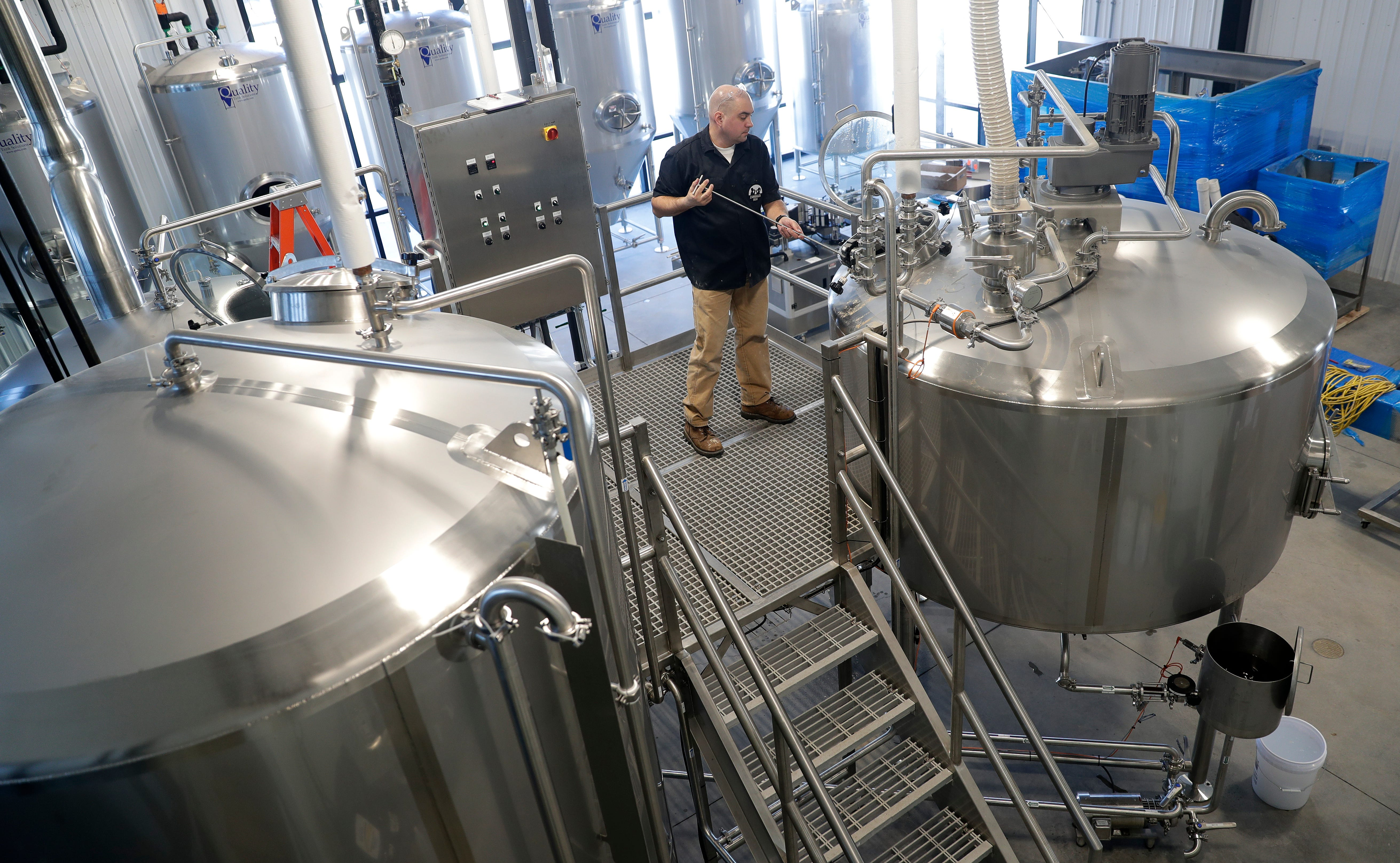 """""""Man it feels good to be brewing beer,"""" David Malcolm, owner of Zambaldi Beer, said as he brewed his first batch of beer at the new brewery in Allouez."""
