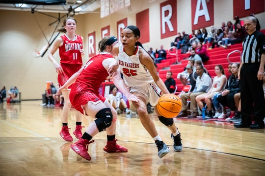 Greenville's Trinity Franklin drives towards the basket guarded by Palmetto's Kinsey Henderson during their game Tuesday, February 18, 2020.