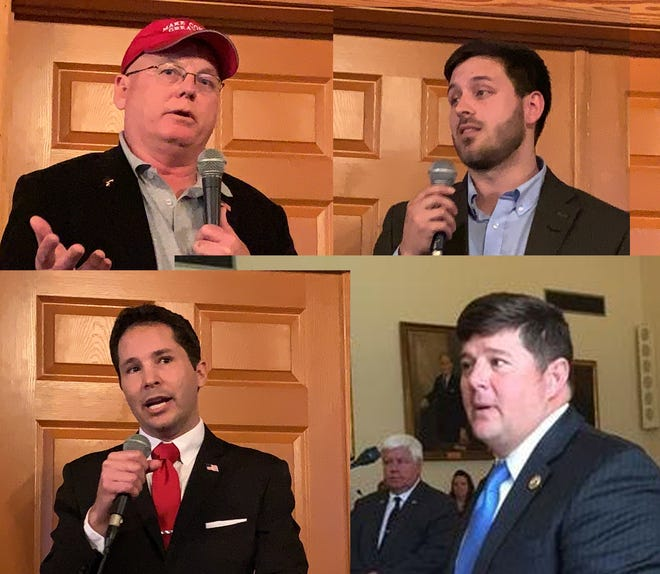Republican candidates for Mississippi's 4th District Congressional seat are clockwise from top left Carl Boyanton, Samuel Hickman, incumbent Steven Palazzo and Robert Deming III.