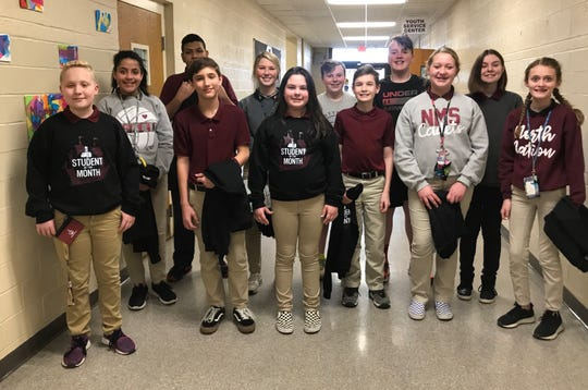 The North Middle School Students of the Month for January 2020 are, front row from left, Camden Shoemaker, Gabrielle Melvin, Brayden Ratliff, Emma Moseley, Brody McAtee, Laynie Rich, and Meg Hudson. Back row from left, John Murillo, Leah Glassco, Clay Roberts, Jaxon Nunn, and Savanna Pendergraft