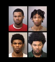 Clockwise from top left: Lasean Watkins, Cameron Banks, Desmond Banks, Rodreice Anderson have been arrested in connection with the quadruple homicide.