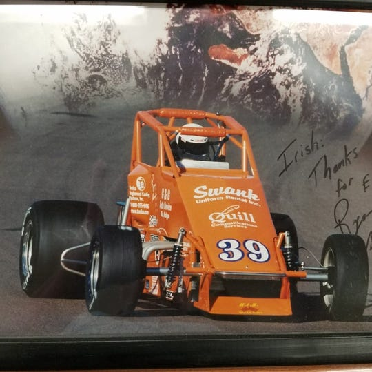 A photo Ryan Newman signed for friend Irish Saunders, thanking him for helping him get his start.