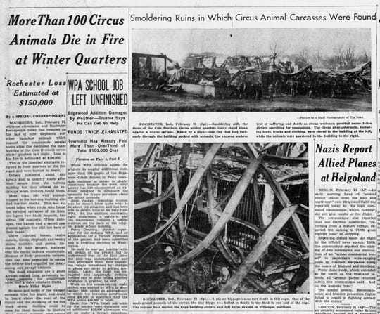 Indianapolis News front page of the Cole Bros. fire in 1940