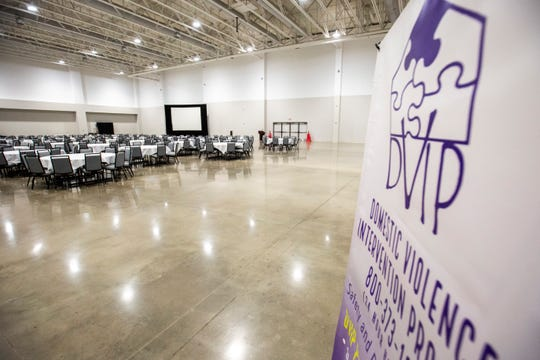 "A sign for DVIP is displayed while setup continues before the ""Souper Bowl"" event, Wednesday, Feb. 19, 2020, at the Marriott Hotel & Convention Center in Coralville, Iowa."