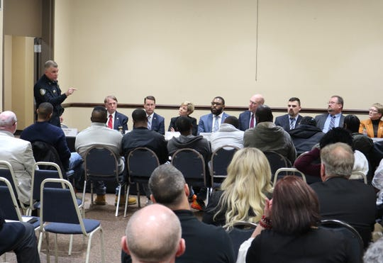 Jackson Police Chief Julian Wiser talks to the group in the inaugural Focused Deterrence program before they begin their 18 months of rehabilitation work on Tuesday, Feb. 18, 2020.