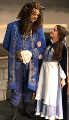 Alex Gadd as The Beast with Katie Thorpe as Belle rehearse at Central High School. 2/18/20