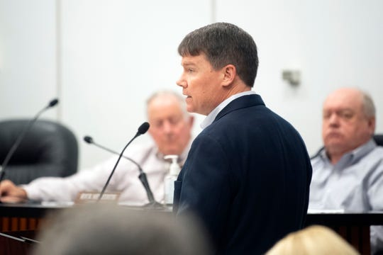 Vert Robinson of TVA at Anderson County Commission's is public hearing on TVA's bid for a new coal ash dump on Tuesday, February 18, 2020.