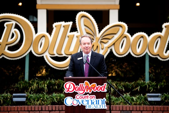 Craig Ross, president of The Dollywood Company, speaks during a press conference announcing the new partnership between Dollywood and Covenant Health at Dollywood in Pigeon Forge on Wednesday, February 19, 2020.
