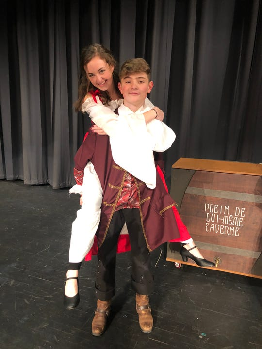 "One of the Silly Girls in ""Beauty and the Beast,"" played by Lauren Turrentine, and Gaston, played by Aidan Simmons, at Central High School. 2/18/20"