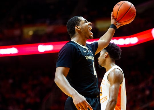 Vanderbilt guard/forward Jordan Wright (4) reacts after a play during the University of Tennessee and Vanderbilt University men's basketball game on Tuesday, Feb. 18, 2020 at Thompson-Boling Arena in Knoxville, TN.