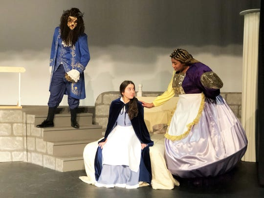 "Alex Gadd as The Beast, Katie Thorpe as Belle and Hope Been as Mrs. Potts rehearse for ""Beauty and the Beast"" at Central High School. 2/18/20"