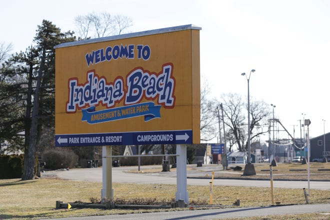 """A """"Welcome to Indiana Beach"""" sign along NW Shafer Drive, Wednesday, Feb. 19, 2020 in Monticello."""