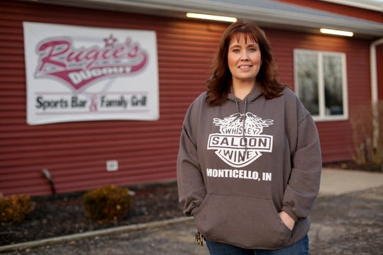 Salina Vargas, owner of Anchor Bay Resort, Whiskey and Wine Saloon and Rugie's Dugout, stands for a photo outside of Rugie's Dugout, Wednesday, Feb. 19, 2020 in Monticello. Apex Parks Group announced Tuesday to White County officials it was closing the popular Indiana Beach amusement park that has operated on Lake Shafer since 1926.