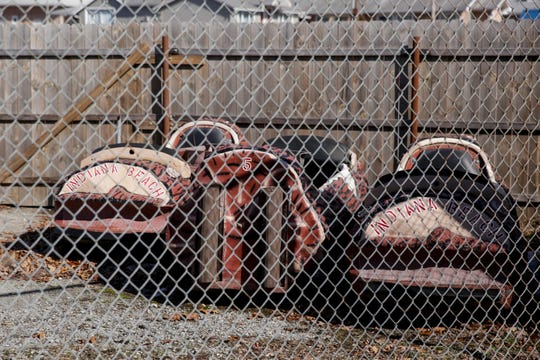 Cars for the Rocky's Rapids water ride sit in a storage area outside of Indiana Beach, Wednesday, Feb. 19, 2020 in Monticello. Apex Parks Group announced Tuesday to White County officials it was closing the popular Indiana Beach amusement park that has operated on Lake Shafer since 1926.