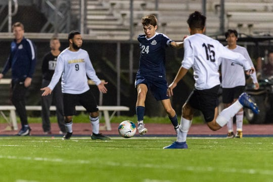 Kade Theunissen moves the ball as The St. Thomas More Boys Soccer team take down Bonnabel in the Quarterfinals of the LHSAA State playoffs. . Tuesday, Feb. 18, 2020.